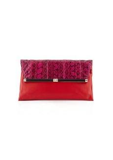 Diane von Furstenberg Large Snakeskin Envelope Clutch Bag, Pink/Red