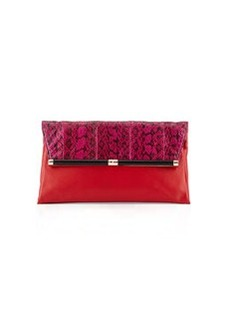 Diane von Furstenberg Large Snakeskin Envelope Clutch Bag, Pink/Red