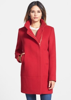 Diane von Furstenberg 'Lauren' Asymmetrical Zip Wool Blend Coat