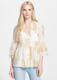 Diane von Furstenberg 'Layla' Metallic Floral Tunic Top