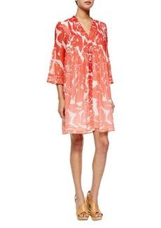 Diane von Furstenberg Layla Smocked-Bib Dress, Rose Ombre Coral
