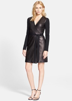 Diane von Furstenberg Leather Wrap Dress