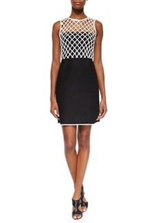 Diane von Furstenberg Leonora Netted Two-Tone Dress