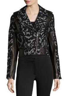 Diane von Furstenberg Leopard-Print Leather-Trim Jacket, Black