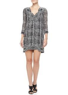 Diane von Furstenberg Lexie Printed Scallop-Neck Dress, Black/Gray/White