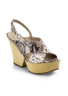 Diane von Furstenberg Liberty Wooden-Heel Snake-Embossed Leather Sandals