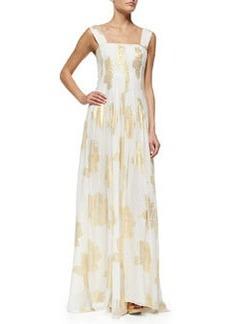 Diane von Furstenberg Lillie Metallic Leaf-Print Maxi Dress, Ivory/Gold