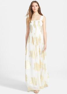 Diane von Furstenberg 'Lillie' Metallic Print Silk Maxi Dress