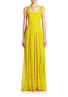 Diane von Furstenberg Lillie Pleated Silk Chiffon Gown