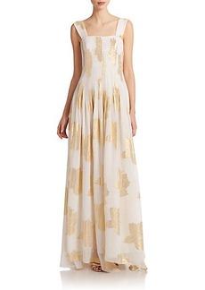 Diane von Furstenberg Lillie Printed Metallic Silk Chiffon Gown