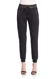 Diane von Furstenberg Liv Leather-Trim Jogger Pants