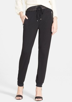 Diane von Furstenberg 'Liv' Leather Trim Knit Pants