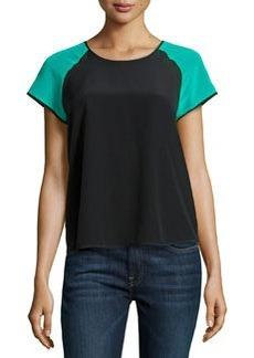 Diane von Furstenberg Liva Colorblock Short-Sleeve Top, Black/Parakeet
