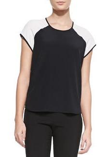 Diane Von Furstenberg Liva Colorblock Silk Top, Black/White