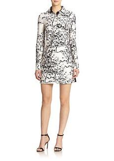 Diane von Furstenberg London Wool & Silk Printed Shirt Dress