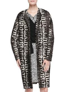 Diane von Furstenberg Long Printed Calf Hair Coat