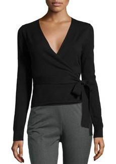Diane von Furstenberg Long-Sleeve Ballerina Wrap Sweater, Black