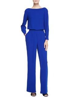 Diane von Furstenberg Long-Sleeve Blouson-Top Jumpsuit