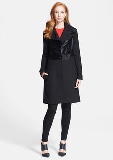 Diane von Furstenberg Long Sleeve Calf Hair Coat