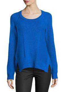 Diane von Furstenberg Long-Sleeve Cashmere Sweater, Blue Diamond