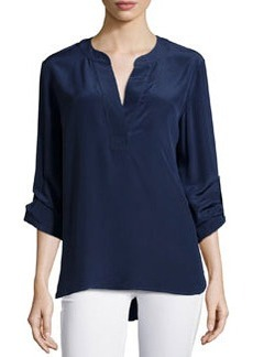 Diane von Furstenberg Long-Sleeve Esti Silk Blouse, Midnight