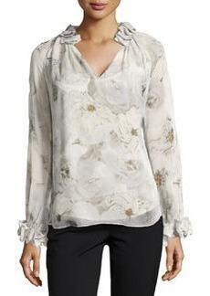 Diane von Furstenberg Long-Sleeve Floral Blouse