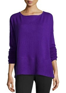 Diane von Furstenberg Long-Sleeve Knit Sweater, Acid Grape