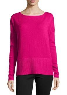 Diane von Furstenberg Long-Sleeve Knit Sweater, Pink Dahlia