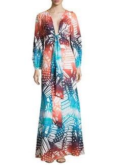Diane von Furstenberg Long-Sleeve Printed Maxi Dress