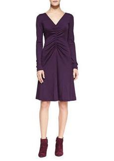 Diane von Furstenberg Long-Sleeve Ruched A-line Dress