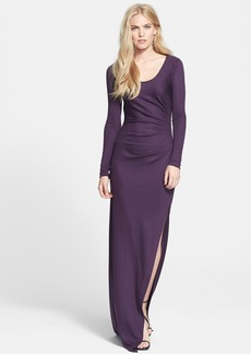 Diane von Furstenberg Long Sleeve Ruched Gown