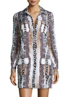 Diane Von Furstenberg Long-Sleeve Snake-Print Shirtdress, Oasis Snake Multi