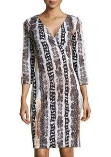 Diane von Furstenberg Long-Sleeve Snake-Print Wrap Dress, Oasis Multi