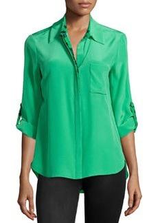Diane von Furstenberg Lorelai Silk Blouse, Hot Green/Lily Green