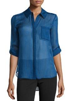 Diane von Furstenberg Lorelai Striped Silk Blouse, Skinny Stripe/Blue