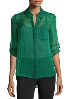 Diane von Furstenberg Lorelai Striped Silk Blouse, Skinny Stripe/Green