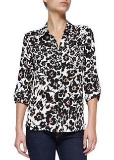 Diane von Furstenberg Lorelei Floral-Print Silk Blouse, Cheetah