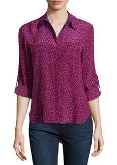 Diane von Furstenberg Lorelei Leopard-Print Silk Blouse, Red/Purple