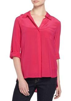 Diane von Furstenberg Lorelei Silk Blouse w/Tab Sleeves
