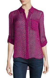 Diane von Furstenberg Lorelei Two Print Silk Blouse, Dotted Snake Pink