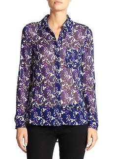 Diane von Furstenberg Lorelei Two Sheer Printed Silk Shirt