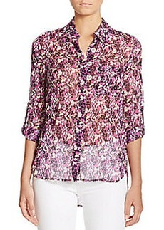 Diane von Furstenberg Lorelei Two Sheer Printed Silk Shirt