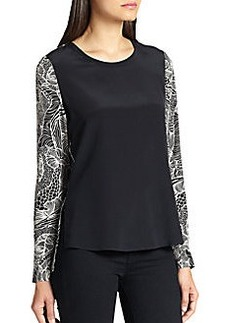 Diane von Furstenberg Louisa Blocked Silk Blouse