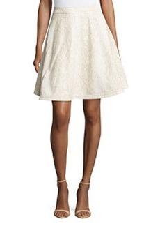 Diane von Furstenberg Luanne Snake-Print Leather Skirt, Ivory