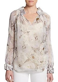Diane von Furstenberg Lunelle Silk-Chiffon Blouse
