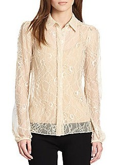 Diane von Furstenberg Lysia Floral Chantilly Lace Top