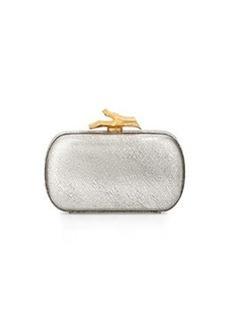 Diane von Furstenberg Lytton Metallic Leather Minaudiere, Silver
