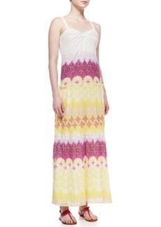 Diane von Furstenberg Marny Sweetheart-Neck Long Crinkle Dress, Multicolor
