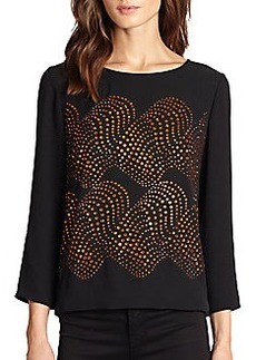 Diane von Furstenberg Maude Dot Wave Embellished Silk Top