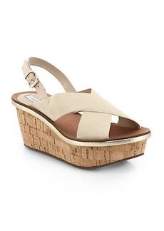 Diane von Furstenberg Maven Suede Crisscross Cork Platform Sandals